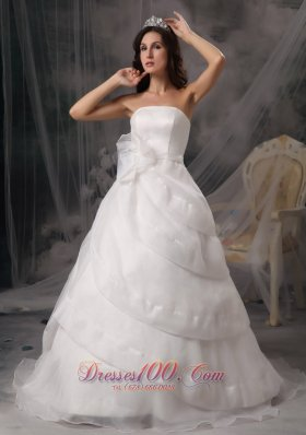 A-line Strapless Court Train Organza Wedding Dress