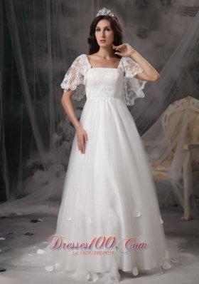 Empire Square Cheap Wedding Dress Tulle Lace Appliques