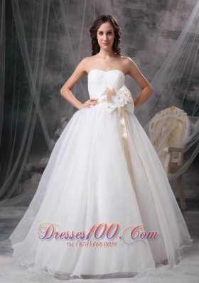 A-line Strapless Floor-length Taffeta Organza Wedding Dress