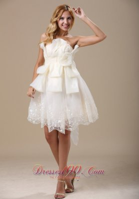 Elegant Strapless White Bow Hand Made Flowers Prom Dress