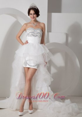 Vintage Lovely High-low Tulle Wedding Dress with Beading