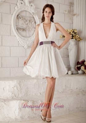 Inexpensive Princess V-neck Short Wedding Dress Taffeta