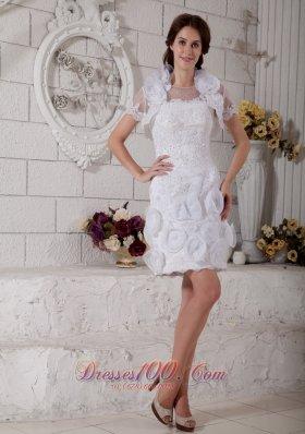 Most Popular Column Scoop Short Wedding Dress Beading