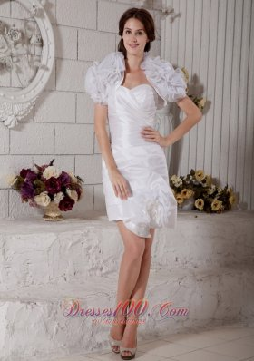 White Column Sweetheart Short Wedding Dress Taffeta Organza