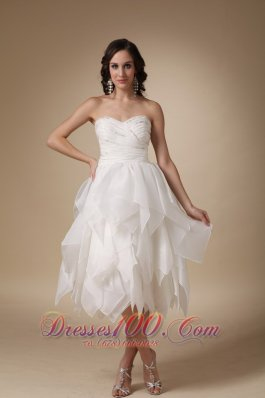 Unique A-line Sweetheart Beading Organza Wedding Dress