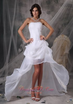 Clearance High-low White Prom DressLow Price Column