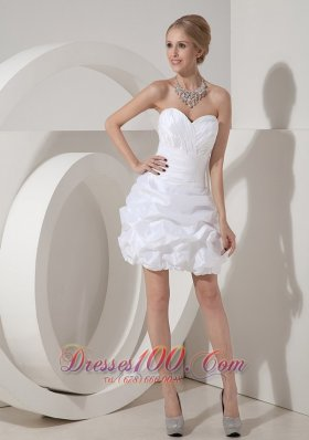 White Column Sweetheart Taffeta Evening Prom Dress