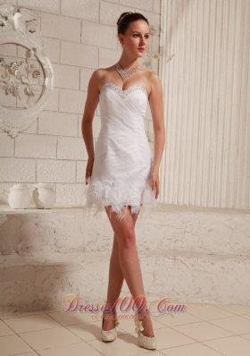 Fashion Sweetheart Beaded Feather Mini-length Wedding Dress