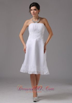 Short Wedding Dress Lace Waist Strapless Knee-length Vintage