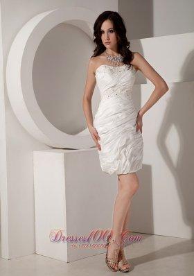 White Sheath Sweetheart Taffeta Beaded Prom Dress in Fashion