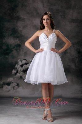 White Classy Halter Short Organza Ruch Staps Wedding Dress
