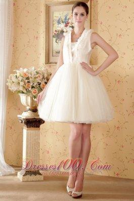 Dressy A-line Princess Square Beading Ruched Wedding Dress