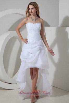 Mod Elegant A-line Strapless Wedding Dress High-low Organza