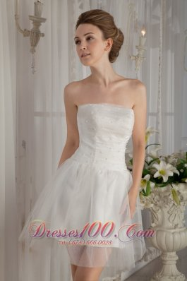 A-Line Strapless Mini-length Beading Wedding Dress