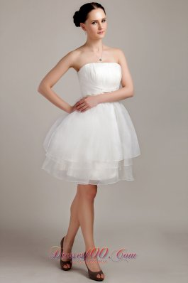 Nifty A-line Mini-length Beading Ruched Wedding Dress