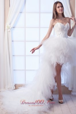 Latest A-line Sweetheart High-low Tulle Wedding Dress
