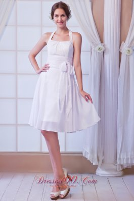 White A-line Halter Knee-length Chiffon Ruch Prom Dress