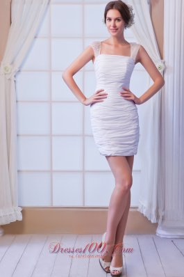 White Straps Mini-length Chiffon Sequins Prom Dress