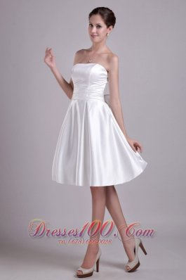 A-line Strapless Knee-length Taffeta Bowknot Bridal Gown