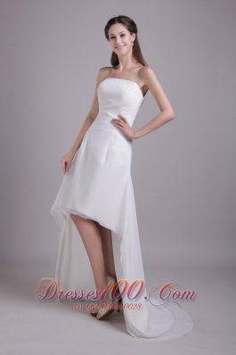 Nifty A-Line Strapless High-low Satin Beading Bridal Gown
