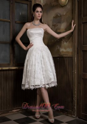 Adorable Knee-length Satin and Lace Bridal Dress