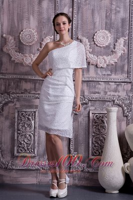 Custom Column Sheath Prom Dress One Shoulder Sequin