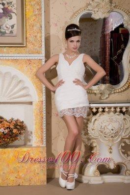 Custom V-neck Chiffon Appliques Bridal Wedding Dress