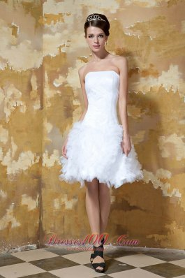 Beautiful A-line Mini-length Tulle Ruch Wedding Dress