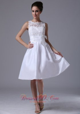 Taffeta A Line Scoop Knee Length Beach Wedding Dress