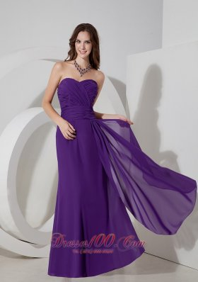 Medium Purple Column Sweetheart Prom Dress Ruching