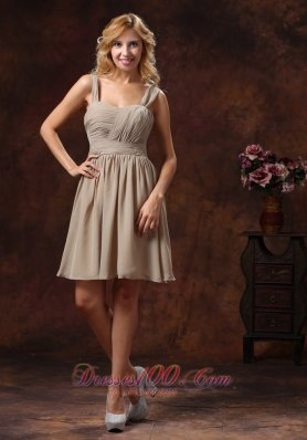 Grey Ruch Knee-length Bridesmaid Dress With Straps
