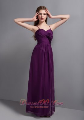 Grape Purple Ankle-length Bridesmaid Dress Flowers