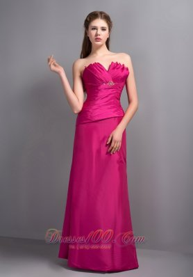 Hot Pink V-neck Prom Dress Floor-length Beaded Brooch