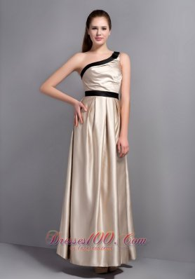 Customize Champagne One Shoulder Bridesmaid Dress Belt