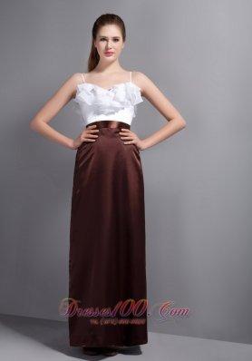 White Brown Bridesmaid Dress Straps Ruffled Layers