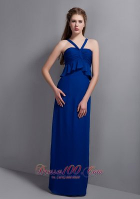 Chiffon Blue Ruch Bridesmaid Dress V-neck Column
