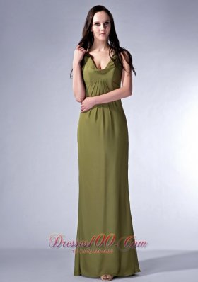 Olive Green V-neck Chiffon Ruch Bridesmaid Dress
