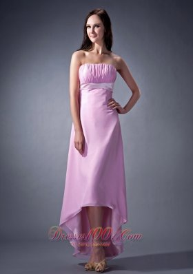 Lavender High-low Chiffon Strapless Bridesmaid Dress