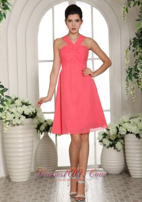 Watermelon Knee-length Chiffon Bridesmaid Dress