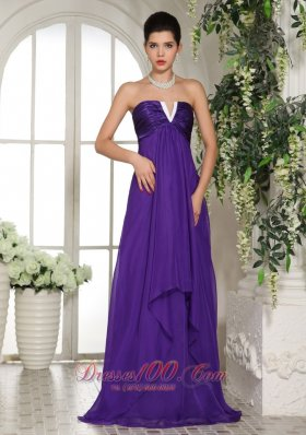 V-neck Eggplant Purple Empire Bridesmaid Dress