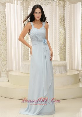 Baby Blue Bridesmaid Dress Hand Flowers Ruch