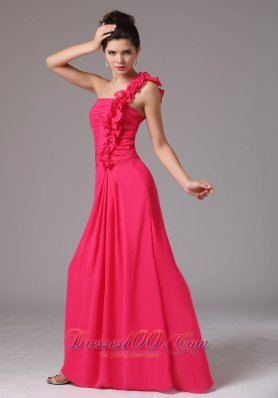 Coral Red One Shoulder Bridesmaid Dress Chiffon