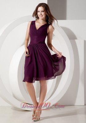 Dark Purple V-neck Knee-length Bridesmaid Dress