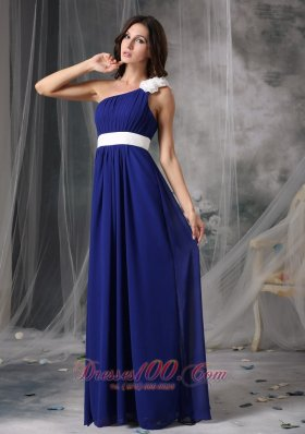 Royal Blue White Chiffon One Shoulder Prom Dress - US$129.69