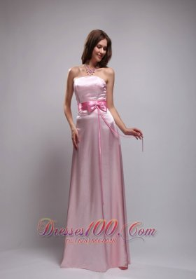 Baby Pink Bowknot Prom Dress Beading Strapless