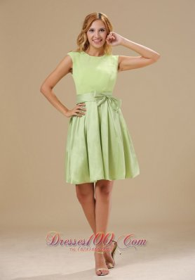 Yellow Green Cap Sleeves Bowknot Prom Dress