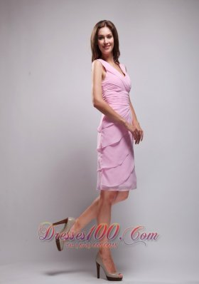 Column V-neck Knee-length Chiffon Prom Homecoming Dress
