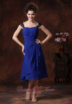 Ruched Navy Blue Ruched Tea-length Bridesmaid Dress