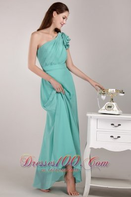 Turquoise Sheath Chiffon Ruch Trend Bridesmaid Dress
