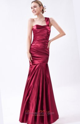 Red Mermaid Prom Dress Taffeta Ruch Floor-length